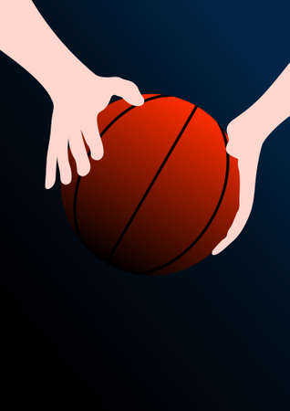 games hand: Basketball background (ball in hands) Illustration