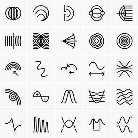 graph theory: Wave physics icons. Illustration