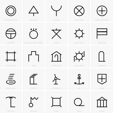set symbols: Set of Japanese map symbols