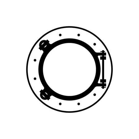 Nautical porthole in black and white illustration.