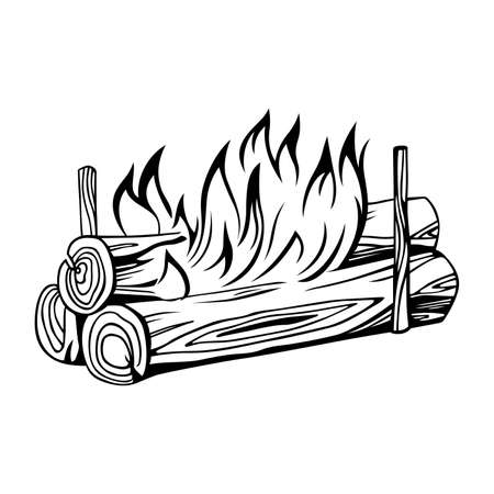 Burning bonfire illustration.
