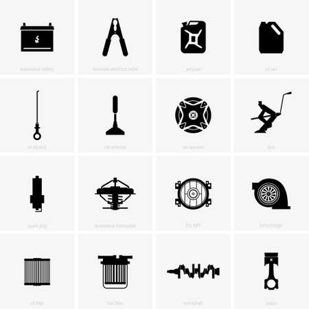 Car parts, shade pictures icon on white background, vector illustration. Stock Illustratie