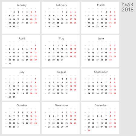 Vector calendar 2018 (american version) Illustration
