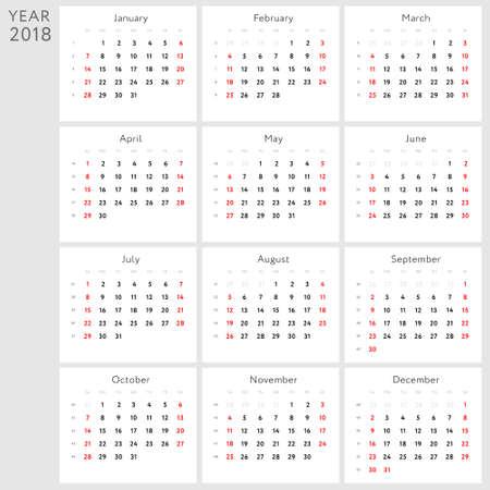 Vector calendar 2018 (english version)