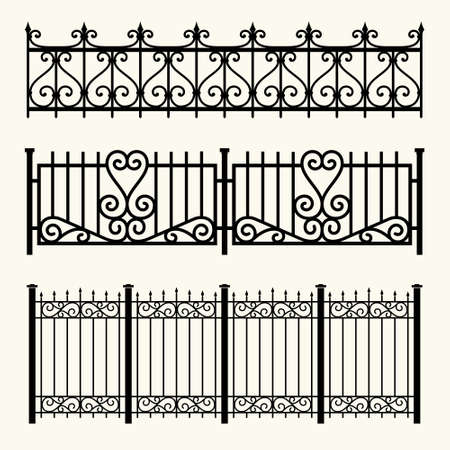 Set of decorative fences made of wrought iron.