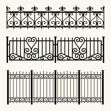 Conjunto de cercas decorativas feitas de ferro forjado.
