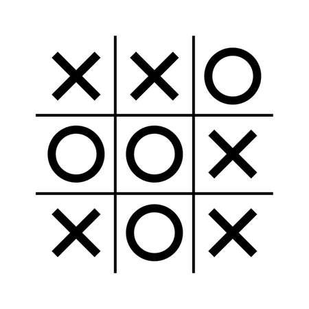 Nullen en kruisen of tic tac teen game Vector illustratie. Vector Illustratie