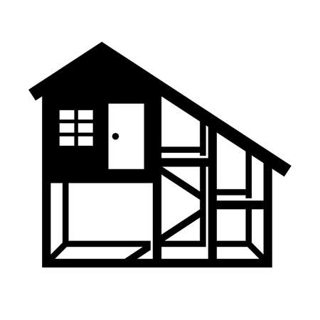 Chicken coop or house, shade picture Vector illustration. Stock fotó - 92203937