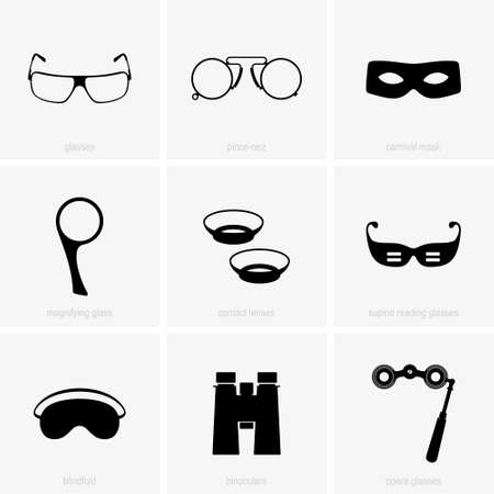 Set of optical and eye care devices Vectores