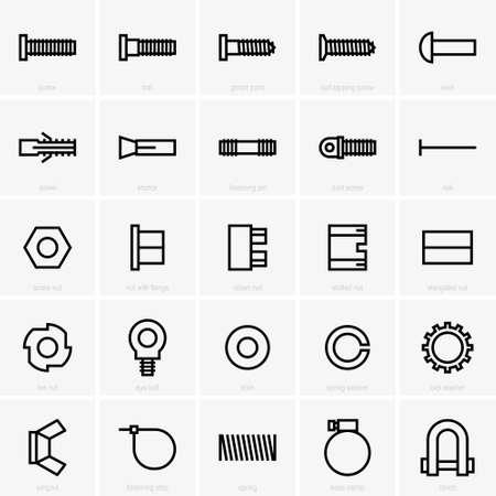 Set of twenty five fasteners icons