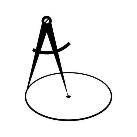 Pair of compasses drawing a circle Vector illustration. Illustration