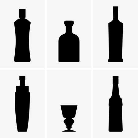 Set of bottles for absinthe Vector illustration.
