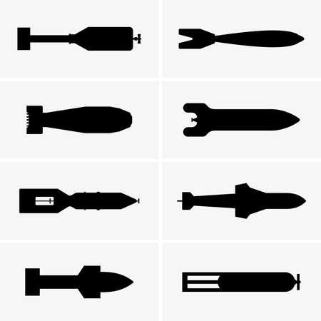 Ensemble de bombes aériennes, images d'ombre Vecteurs