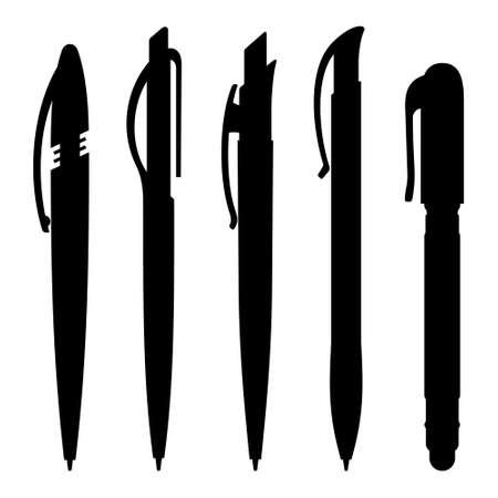 Set van plastic pennen silhouetten Stock Illustratie