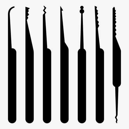 Set of tools for lockpicking