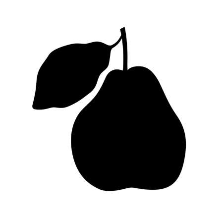 Apple quince fruit with a leaf, shade picture Illustration