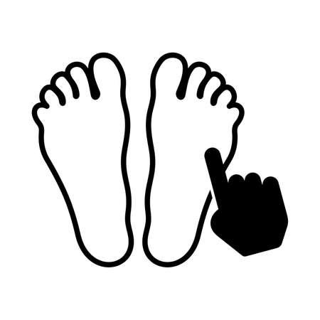 Acupressure foot symbol, feet and a hand illustration.