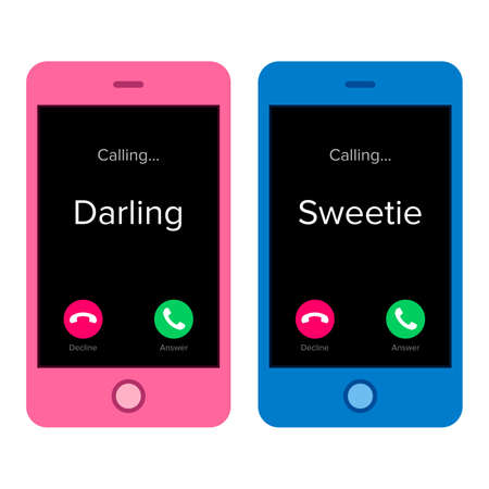 Incoming call of two lovers,  darling, sweetie endearment, on black mobile phone. screen.