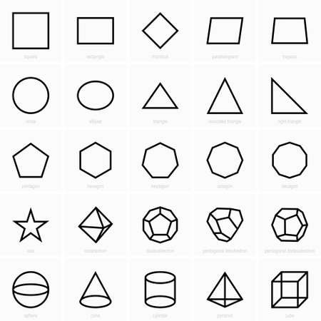 Set of planimetric and  stereometric figures icons