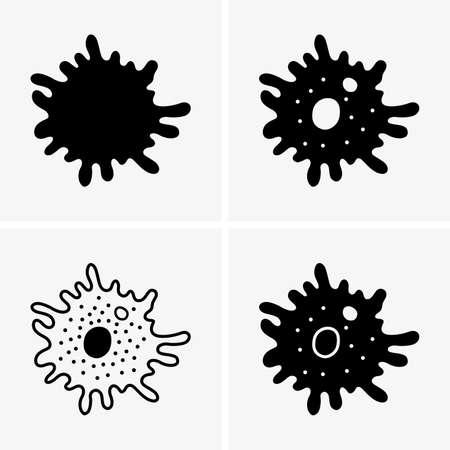 Amoeba (Amoeba proteus) Ilustración vectorial sobre fondo blanco.