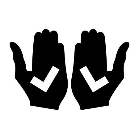 left and right hands with check marks, Vector illustration. 向量圖像