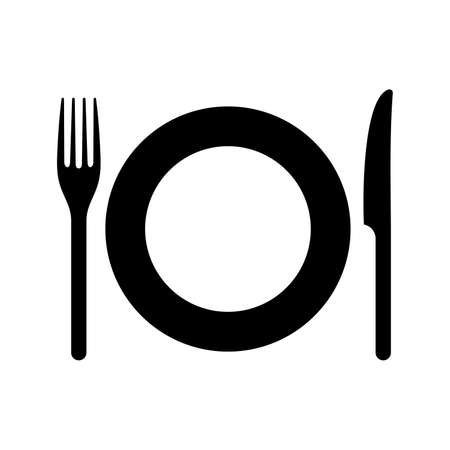 Cutlery: a plate, a fork and a knife Çizim