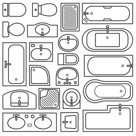 Bathroom equipments (top view)