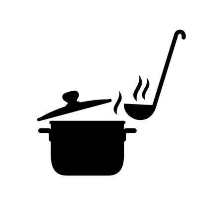 Steaming saucepan and a ladle on white background.
