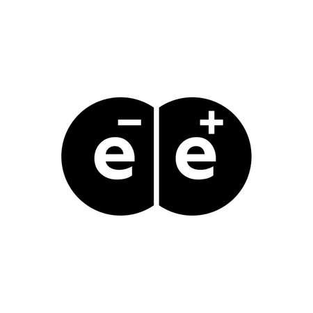 Antimatter electron and positron icon.