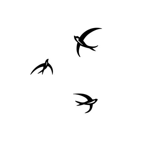 Three circling swallows bird illustration on white background. Vectores