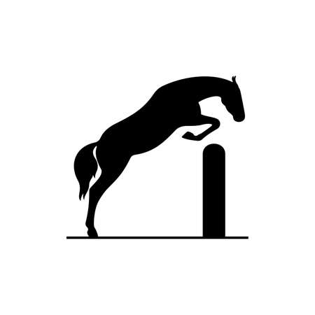 Horse jumping over the barrier Illustration