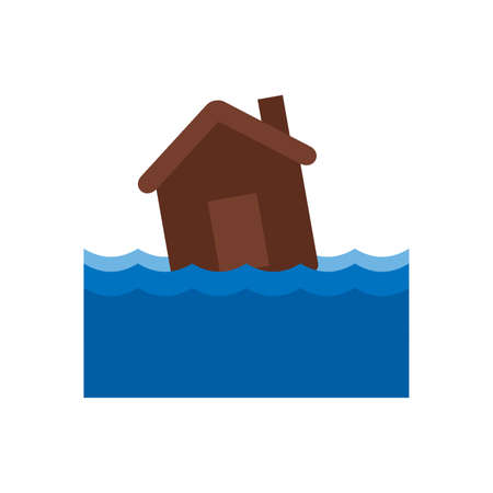 House drowning in the water Vectores