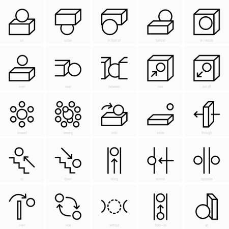 Iconos de preposición de espacio Ilustración de vector