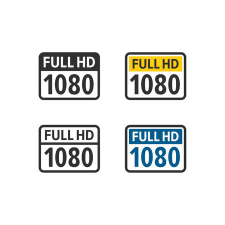 Full hd 1080 icons 向量圖像