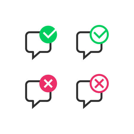 Speech bubbles with check or take marks 向量圖像