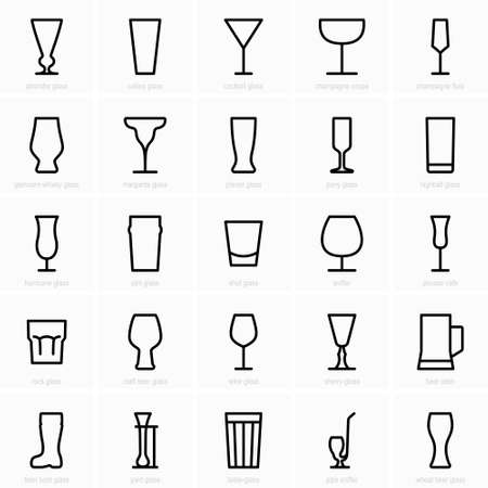 Bar glass icons isolated on a white background.