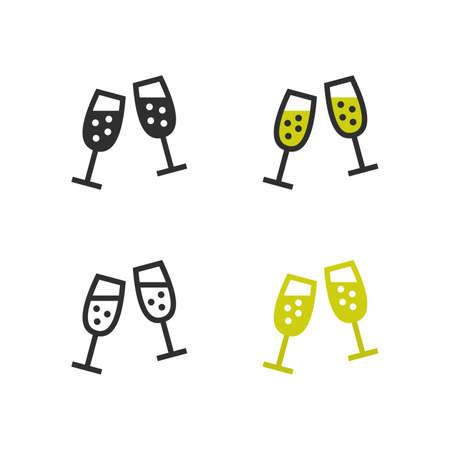 Champagne flute icons Standard-Bild - 108439780