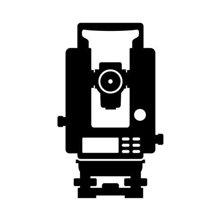 Total station theodolite electronic Illustration