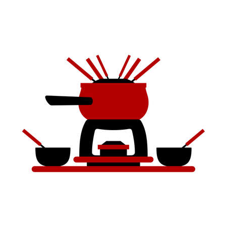 Melting fondue pot set with bowls vector illustration