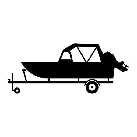 Boat on the trailer illustration.