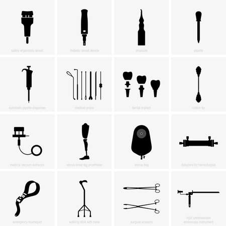Medical tools, devices, equipment illustration. Ilustrace