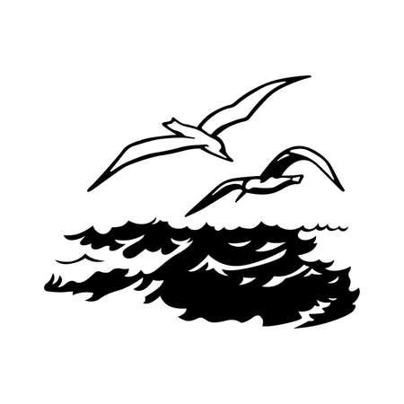 Birds over the sea Illustration