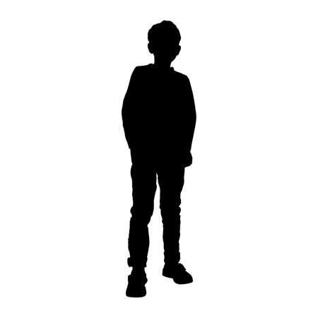 Jongen (kind, tiener) silhouet Vector Illustratie