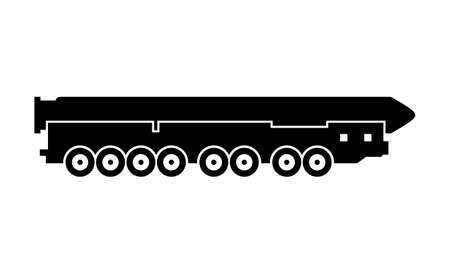 Mobile thermonuclear armed intercontinental ballistic missile silhouette Vektorové ilustrace