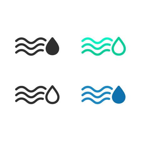 Icono de absorción de agua, conjunto