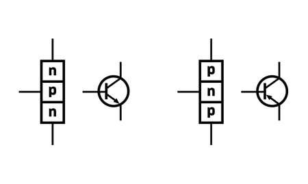 n ? p ? n and p ? n ? p bipolar junction transistor scheme Vektorové ilustrace