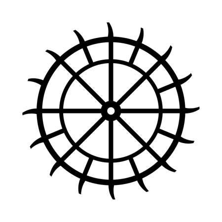 Water wheel, energy converting machine Vektoros illusztráció