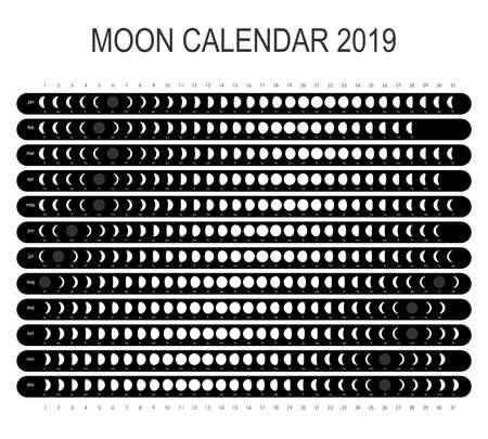 Moon calendar 2019 Vettoriali