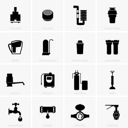 Water preparation and processing, set - Vector Vektoros illusztráció