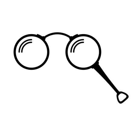 Lorgnette, un paio di occhiali con manico o binocolo da teatro - Vector
